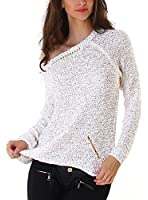 Jela London Damen Pailletten-Pullover eingenähter Goldkette (Einheitsgröße 36 - 40)