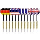 VIVOHOME Tip Darts With National Flag Flights Pack Of 12