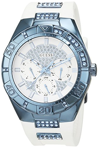 Guess Women's Quartz Watch with White Dial Analogue Display and Blue Stainless Steel Bracelet W0653L2