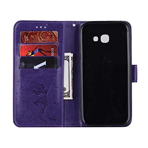 Abnehmbare 2 in 1 Crazy Horse Texture PU Ledertasche, Fairy Girl Embossed Pattern Flip Stand Case Tasche mit Lanyard & Card Cash Slots für Samsung Galaxy A5 2017 ( Color : Rosegold ) Purple