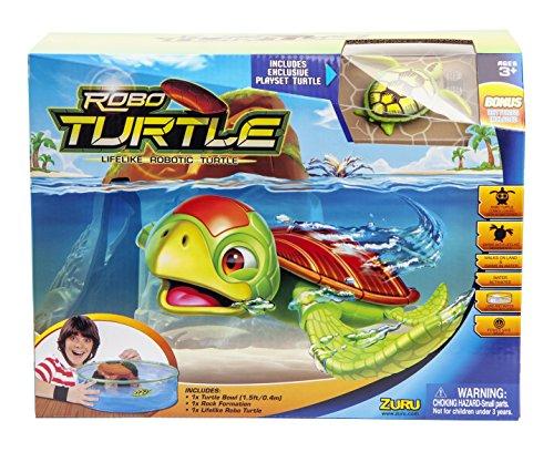 Goliath 32828 Robo-Turtle | Spielset Wasserschildkröte, Aquarium, Felsen | Gigantischer Wasserspaß auch in der Badewanne | Lebensechte Bewegungen auf dem Land und im Wasser (Tank Mit Fisch)