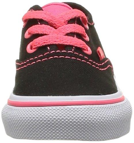 Vans T Authentic Pop, Baskets mode mixte enfant Noir (Black/Neon Red)
