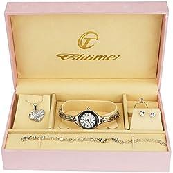 Caja de Regalo Reloj Mujer Plata- Juegos de Joyas- Collar-Anillo- Pendientes - Pulsera
