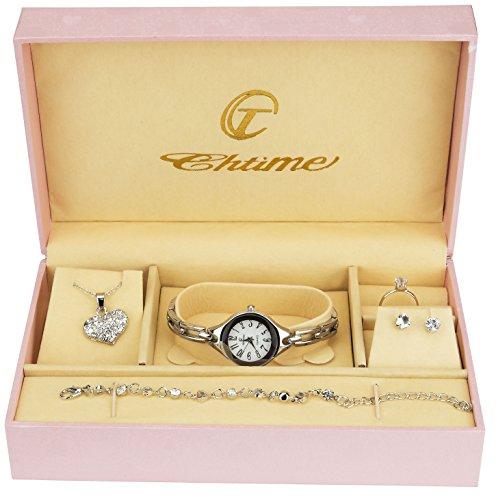 Coffret Cadeau Montre Femme Argent- Parure de Bijoux- Collier-Bague- Boucles d'oreilles - Bracelet