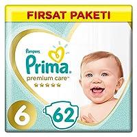 Prima Bebek Bezi Premium Care, 6 Beden, 62 Adet, Ekstra Large Fırsat Paketi