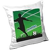 Kissen mit Namen Jonathan und schönem Fußballer-Motiv für Jungs - Namenskissen personalisiert - Kuschelkissen - Schmusekissen