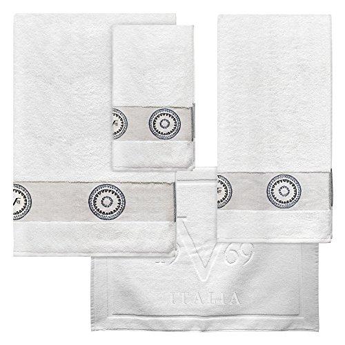 Versace 19v69 Abbigliamento Sportivo SRL Set mit 3Handtüchern und Matte, sportlich, Weiß - Sportliches Set