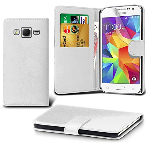 DN-Technology Galaxy J3 Case (Galaxy J3 2016 Model) Leather Book Case with Screen Protector For Galaxy J3 2016 (Not Compatible With Galaxy J3 2017 Model) (WHITE)