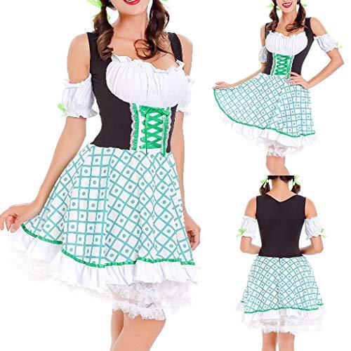 Damen Mädchen Kostüm Bier - Bayerische Oktoberfest Kostüm T-Shirts,Bier Festival für Damen und Mädchen Spitze Vintage Beer Festival Bayerische Kurzarm Kellnerin Cosplay Kostüm Kleid (M)