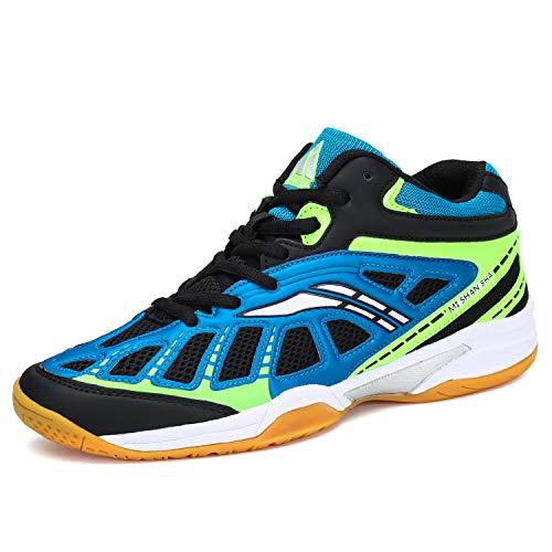 katliu Männer Badmintonschuhe Indoor Fitness Sportschuhe Frauen Tennisschuhe Bequem Training Sneaker H-Blau,42 EU
