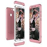 Winhoo Kompatibel mit Huawei Honor 9 Lite Hülle Hardcase 3 in 1 Handyhülle 360 Grad Schutz Ultra Dünn Slim Hard Full Body Case Cover Backcover Schutzhülle Bumper - Rose Gold