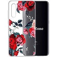 OKZone Funda Xiaomi Mi 9 SE, Funda Diseño Floral con Flores Transparente Silicona Suave TPU Bumper Protectora Enjaca Espalda Cubierta para Xiaomi Mi 9 SE (Rojo)