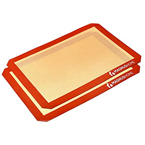 MAGNUS Home - Silicone Baking Mat - FDA Approved Non-Stick Bakeware Tray- Replacement for Parchment Paper & Aluminum Foil(Pack of 2)