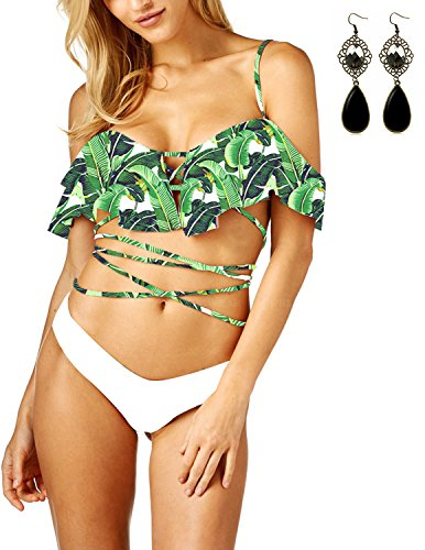 Sitengle Damen Bikini Sets geblümt Badeanzug mit Volant Bandage Push-Up Triangel Bathing Suit Beachwear Grün M (Paisley Womens Bras)