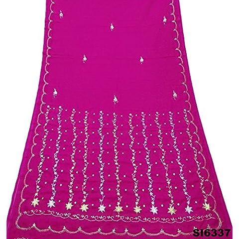 Bordado Indio Sari De La Vendimia Se Visten De Color Magenta Mezcla Arte De La Tela Georgette De Decoración Para El Hogar Sari Velo