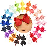 Hair Bows Headbands For Toddlers Solid Ribbon Multi Colored 4.5 Inch Pack Of 20