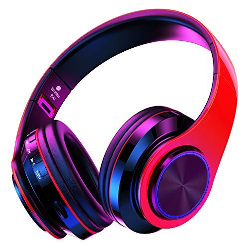 QLtech Auriculares de Diadema Cerrados, Cascos inalámbricos Bluetooth Plegable con Micrófono y Luces Led para Apple iPhone X, 8, 7lus,6,Samsung Huawei Sony Laptops Tabletas,HiFi(Rojo Negro)