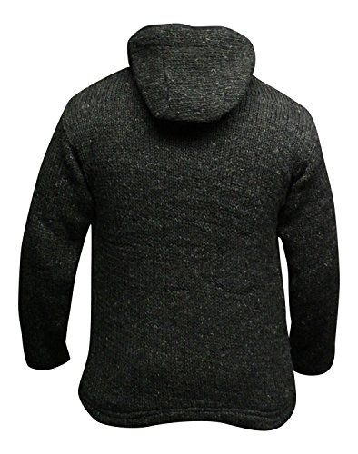 Shopoholc Mode Einfarbig Farben Fleecefutter Gestrickt Aus wolle Jacke Mit Kapuze/Pulli Dunkelgrau