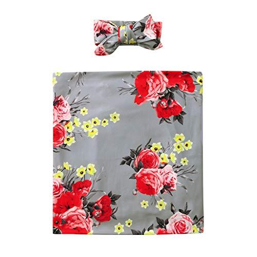erthome Baby Outfits, Baby Blumen Badetuch Neugeborenen Handtuch Schlafdecke Mit Decke + Haarband (Grau) (Farbe Teal Blumen-mädchen-kleider)