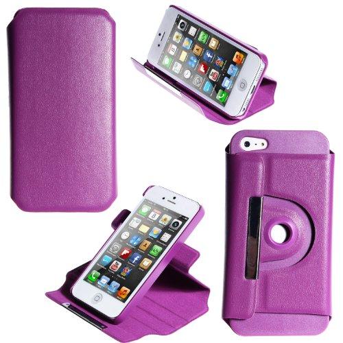 wortek Flip Case im Bookstyle Apple iPhone 5 / iPhone 5S Tasche mit Magnetverschluss und 360 Grad Standfunktion Lila Lila