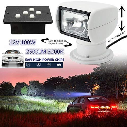 FQGFZ Lampe 12V 100W 2500LM Marine Boat Remote Control Spotlight Searchlight Light Truck Car PC+Aluminum 18 x 20cm 3200K Color Temperature -