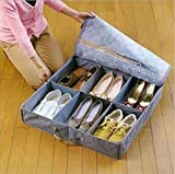 Styleys 6 Pairs Shoes Storage Box Shoe Organizer Under Bed Closet Shoebox Non-woven Eco-Friendly Folding Bamboo Charcoal Fabric Grey