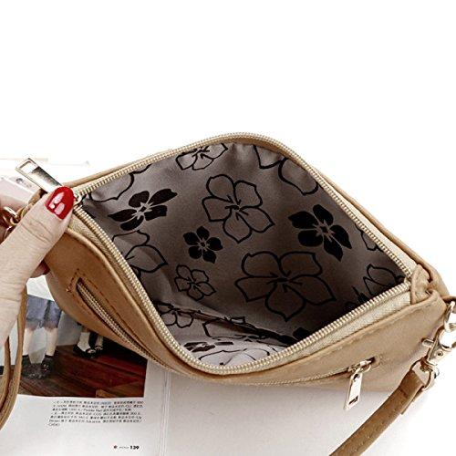 QPALZM Frau Beiläufige Quaste Kleine Quadratische Tasche Schulter Schräge Kreuzhandtasche Reißverschluss Schließen A5