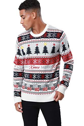 Threadbare - Jersey de Navidad para Adultos Tree Stripes - Ecru Cream Tamaño-M-Pecho 99,06 cm-104,14 cm