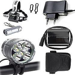 LED Luz Linterna LáMPARA TORCH frontal Cabeza 5x CREE XM-L T6 /CREE 5X 6000 lúmenes LED de bicicleta /bici lámpara Luz LED frontal para manillar de bicicleta bicicletas (5 focos, 3 modos) con 6x16850 batería y cargador& Llavero Linterna Torch & Llavero Linterna torch