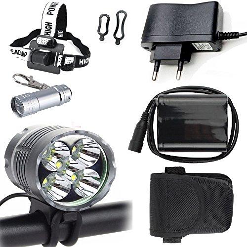 LED Luz Linterna LáMPARA TORCH frontal Cabeza 5x CREE XM-L T6 /CREE 5X 6000 lúmenes LED de bicicleta /bici lámpara Luz LED frontal para manillar de bicicleta bicicletas (5 focos, 3 modos) con 6×16850 batería y cargador& Llavero Linterna Torch & Llavero Linterna torch