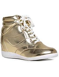 bethany-17Gold Metallic cordones cuña talón zapatillas
