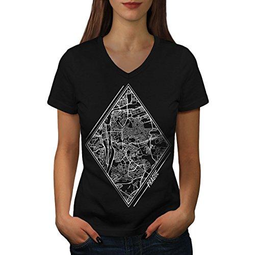 wellcoda Tschechisch Republik Stadt Frau V-Ausschnitt T-Shirt Prag Grafikdesign-T-Stück