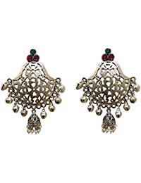 Rapunzel Collection Ethnic Antique Oxidised Silver Look Metal Jhumki Earring With Green And Pink Stones For Women...