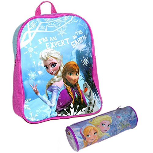 Disney® Frozen Official Kids Children School Travel Rucksack Backpack Bag with Zip Tube Pencil Case Set - Elsa Anna and Olaf