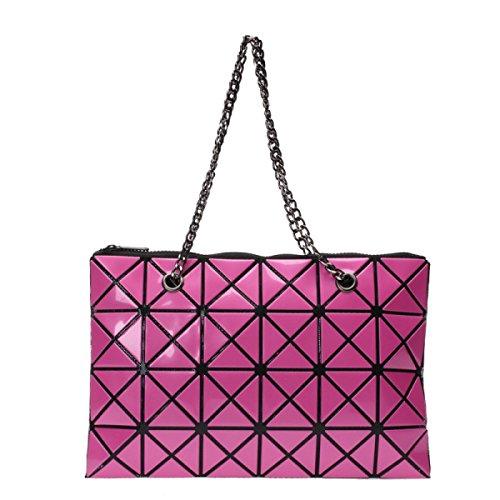 Damen Schultertasche Mode Geometry Handtasche Kette Tasche RoseRed