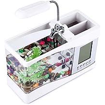 Mini acuario pecera con bomba de agua y luz, despertador, calendario, reloj color blanco