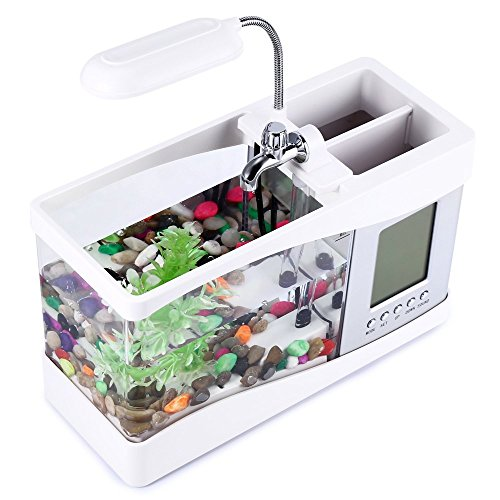 OPEN BUY Mini acuario pecera con bomba de agua y luz, despertador, calendario, reloj color blanco