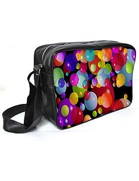 Snoogg Colorful Bubbles 2606Leder Unisex Messenger Bag für College Schule täglichen Gebrauch Tasche Material PU