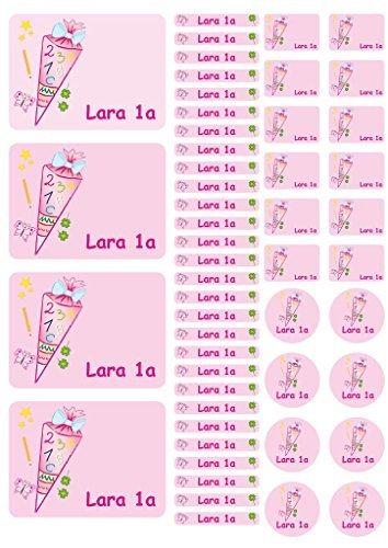 Pegatina con nombre Etiqueta engomada de cuaderno Etiquetas Pegatinas Hoja pegatinas Schoolday trata Confitería rosa