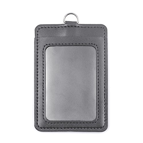 Gogo Vertikal Horizontal beidseitigen PU Leder ID Card Badge Holder mit ID Fenster 50 packs vertical grey