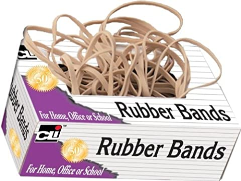 Charles Leonard Gummi Bands, tissue-style Box, # 33, beige/natur, 58133