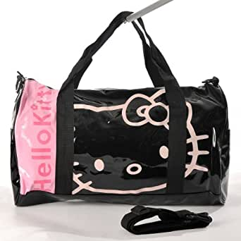 Hello Kitty Patent Leather Duffle Gym Travel Bag Tote Shoulder Black