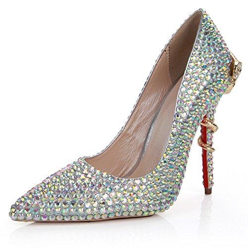 Lacitena Zapatos de Mujer Extreme Slip Diamond Stiletto High Heel para Vestido de Fiesta de Boda