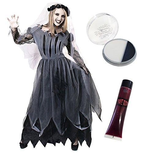 Ilovefancydress - kit per halloween con abito da sposa zombie fantasma, pittura per viso e sangue finto, misure s - xl, colore: nero
