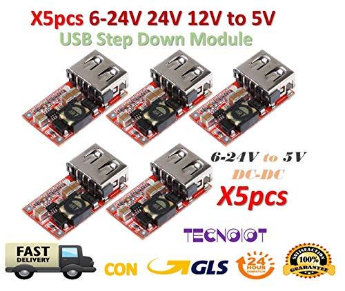 TECNOIOT 5 Stück 6-24 V 24 V 12 V to 5 V USB Step Down Module DC-DC Converter ra: 5 Pieces DC-DC Buck Module 6-24 V 12 V / 24 V to 5 V 3A USB Step Down Power Supply Charger Efficiency 97,5%