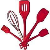 Set di 5 utensili da cucina in silicone, 2 spatole, pennelli, frusta & Turner, resistente al calore, privo di BPA