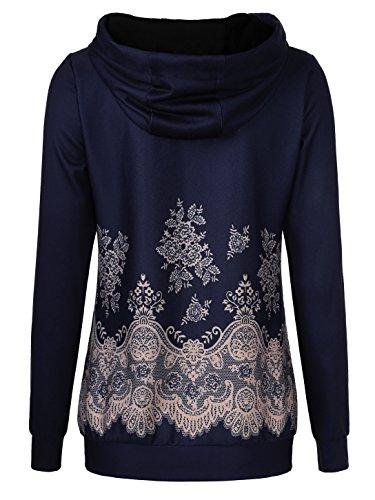 EA Selection Damen Kapuzenpullover Sweatshirt Gedruckt Hoodie Pulli Navy