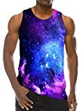 Loveternal Mens Galaxy Westen 3D Digtal Print Ärmelloses T-Shirts Workout Muscle Graphics Tanktop M