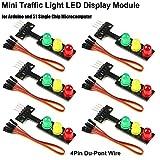 6pcs Modulo display a LED mini semaforo 5V Rosso giallo verde Blocchi elettronici a LED a mini semafori a LED da 5 mm, con cavo 6 pin a 4 pin Du-Pont per Arduino Semaforo Modello di sistema