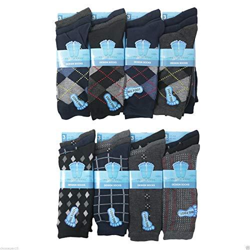 Argyle Golf Schuhe (FLAVES FASHION (FF11) Neu Big Foot HERREN Socken Herren Eleganter Anzug Bunt Socken Erwachsene 11-14 12,6 Paar (UK 11-14 Eu 45-49,M10782 (6 Paar)))